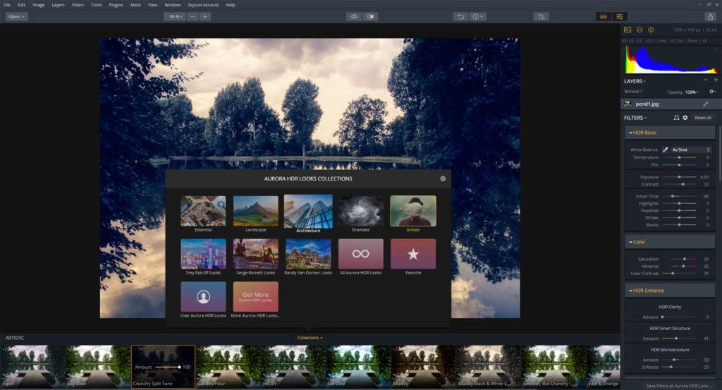 AuroraHDR review – presets menu