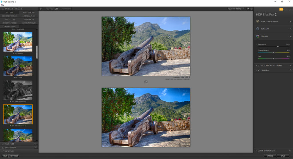 Compare view for HDR images