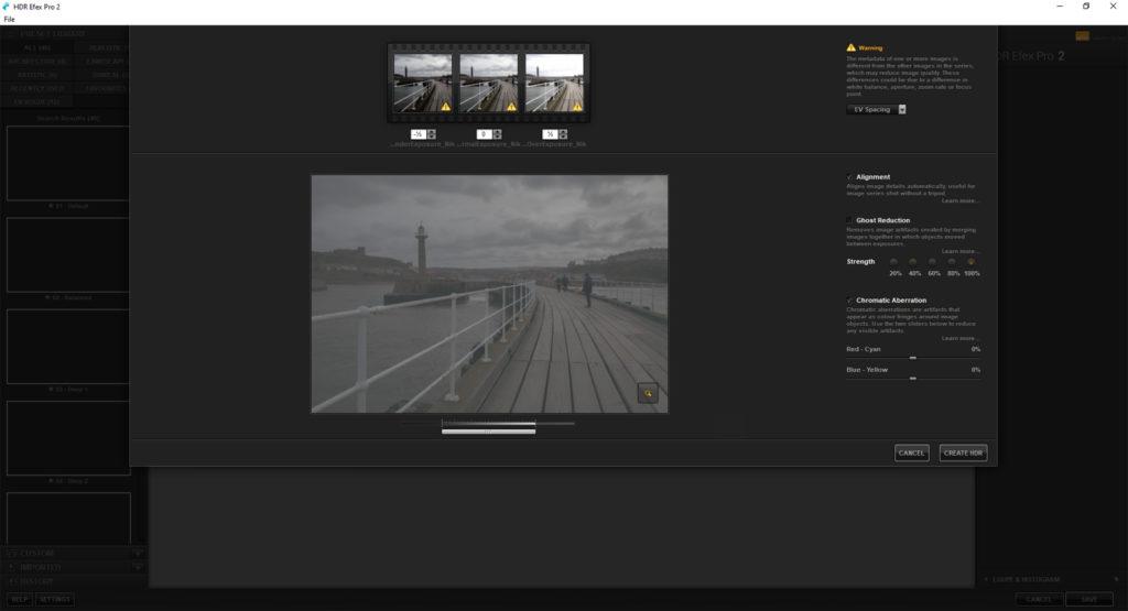 Initial HDR settings dialogue box