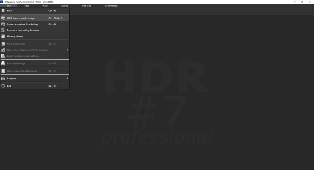 HDR Projects 7 review – file menu