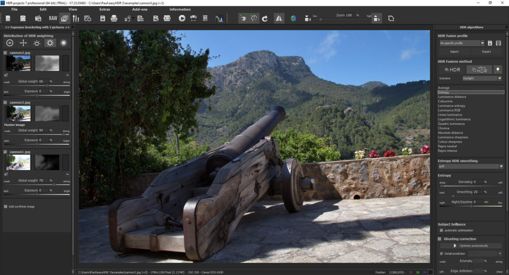 HDR processing screen to edit initial HDR settings