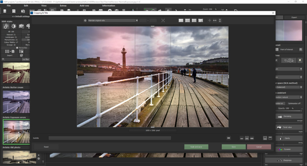 HDR Projects 7 review – save dialogue box