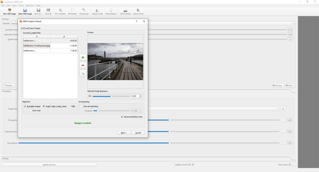 HDR exposure editing screen