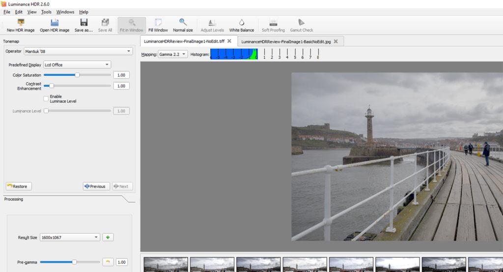 Luminance HDR review – white balance editing