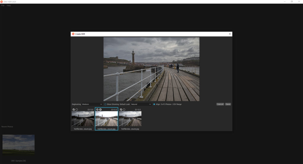 HDR selection screen – initial settings