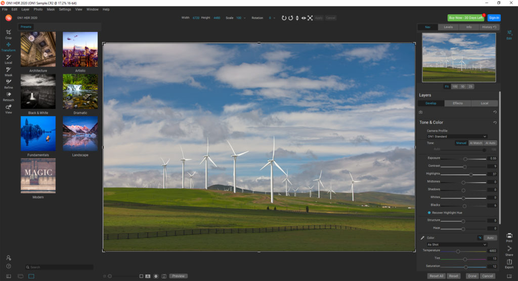 ON1 HDR 2020 review – transformation tool