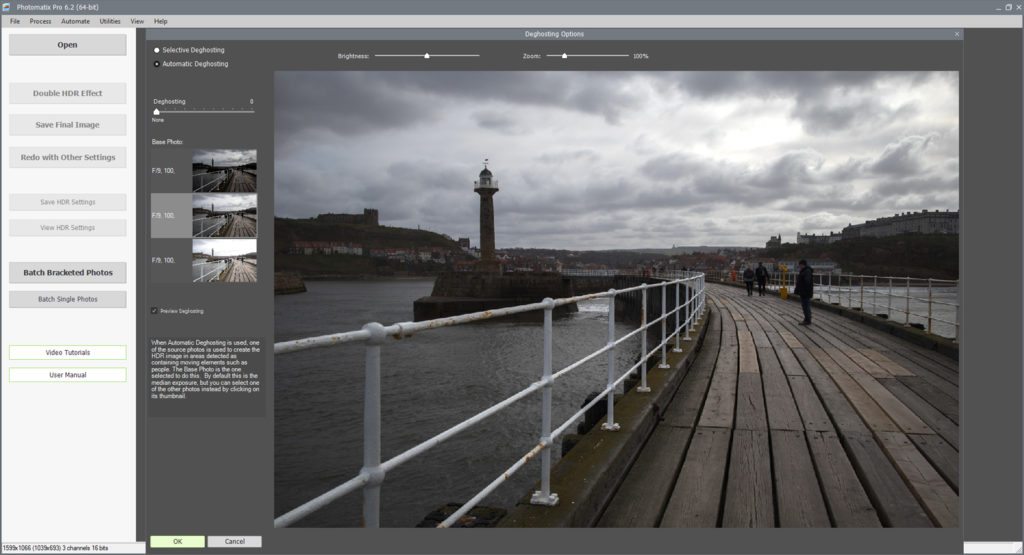 De-ghosting options for HDR process