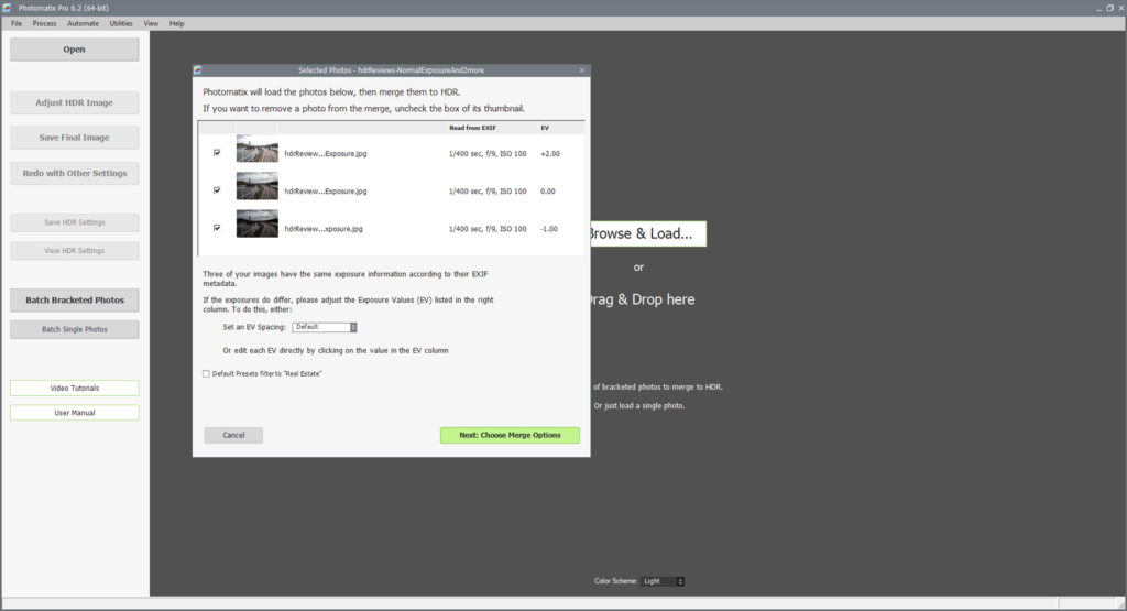 Initial file import screen